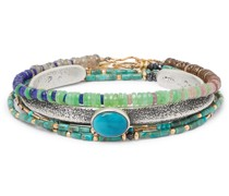 Playa Set of Three Sterling Silver and Gold Filled Multi-Stone Bracelets