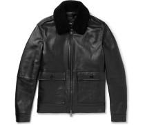 Graven Shearling-trimmed Leather Bomber Jacket