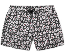 Slim-fit Mid-length Floral-print Swim Shorts