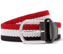 3.5cm Leather-trimmed Striped Canvas Belt