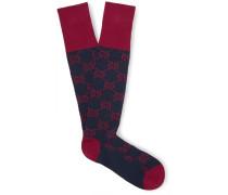 Patterned Ribbed Stretch Cotton-blend Socks