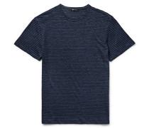 Slim-fit Mélange Striped Linen T-shirt