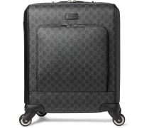 Leather-trimmed Monogrammed Coated-canvas Carry-on Suitcase