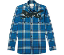 Embroidered Checked Wool And Cashmere-blend Flannel Shirt