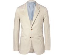 Cream Butterfly Slim-fit Unstructured Stretch-cotton Blazer
