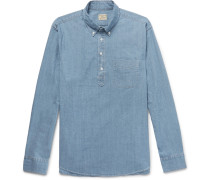 Button-down Collar Stretch-cotton Chambray Half-placket Shirt