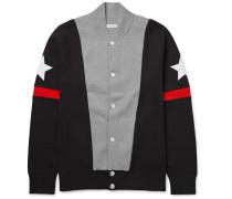 Slim-fit Appliquéd Colour-block Stretch Cotton-blend Bomber Jacket