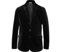Black Slim-fit Unstructured Stretch-cotton Velvet Blazer