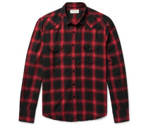 Slim-fit Checked Cotton-blend Flannel Western Shirt