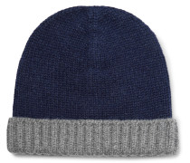 Two-tone Ribbed Cashmere Beanie
