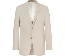 Beige Slim-fit Stretch Cotton And Cashmere-blend Suit Jacket