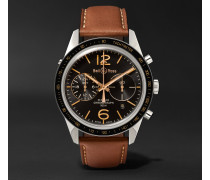 Br 126 Sport Heritage Gmt And Flyback Chronograph Steel And Leather Watch