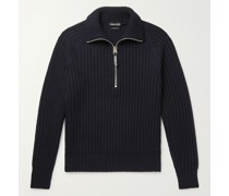Slim-Fit Ribbed Cashmere and Wool-Blend Half-Zip Sweater