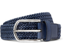 3.5 Blue Leather-trimmed Woven Cord Belt