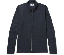 Checked Wool-blend Zip-up Overshirt