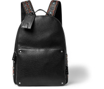 Embellished Grained-leather Backpack