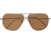 + Cutler And Gross Statesman Aviator-style Gunmetal-tone Sunglasses