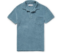Slim-fit Open-collar Cotton-terry Polo Shirt