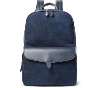 Journey Leather-trimmed Denim Backpack