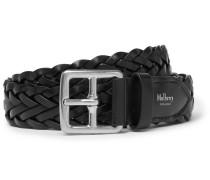 3cm Black Woven Leather Belt
