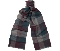 Stanford Fringed Checked Cashmere Scarf