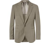 Slim-fit Herringbone Cotton And Linen-blend Suit Jacket