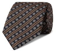+ Drake's 8cm Logo-Embroidered Striped Silk Tie