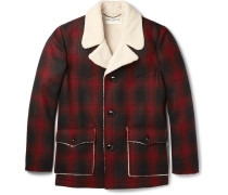 Faux Shearling-trimmed Checked Wool Jacket