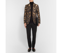 Black And Gold Slim-fit Jacquard Tuxedo Jacket