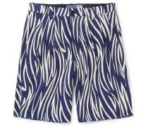 Indigo-Dyed Printed Cotton Shorts