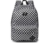 Logo-Appliquéd Leather-Trimmed Checkerboard Nylon Backpack