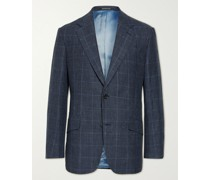 Slim-Fit Prince of Wales Checked Linen and Wool-Blend Suit Jacket
