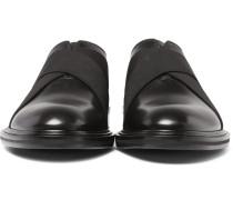 Elastic-trimmed Polished-leather Derby Shoes