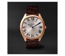 Drive de Cartier Hand-Wound 18-Karat Pink Gold and Alligator Watch, Ref. No. CRWGNM0006
