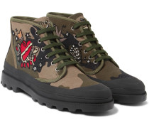 Appliquéd Camouflage-print Canvas Boots