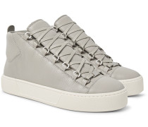 Arena Full-grain Leather High-top Sneakers