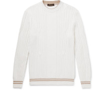 Slim-Fit Striped Cable-Knit Cotton and Cashmere-Blend Sweater