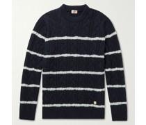 Logo-Appliquéd Striped Cable-Knit Wool-Blend Sweater