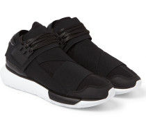 Qasa Leather-trimmed Neoprene High-top Sneakers