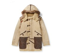 Deering Leather-Trimmed Shearling Hooded Parka