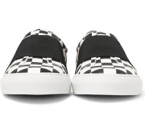 Elasticated-strap Checkerboard Leather Sneakers
