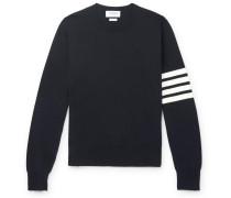 Striped Grosgrain-Trimmed Cotton Sweater