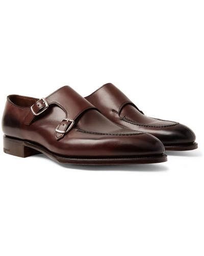 Fulham Leather Monk-strap Shoes - Dark brown