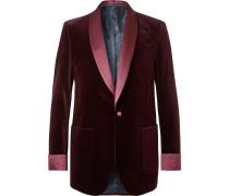 Burgundy Slim-Fit Satin-Trimmed Cotton-Velvet Tuxedo Jacket