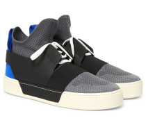 Leather, Suede And Mesh High-top Sneakers