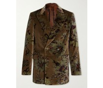 Double-Breasted Printed Cotton-Blend Velvet Suit Jacket