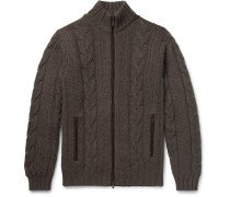Cable-knit Cashmere Zip-up Sweater