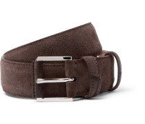 3.5cm Taupe Maine Alligator-trimmed Suede Belt