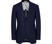 Blue Grant Puppytooth Linen Suit Jacket
