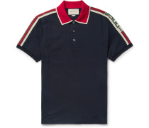 Webbing-trimmed Stretch-cotton Piqué Polo Shirt